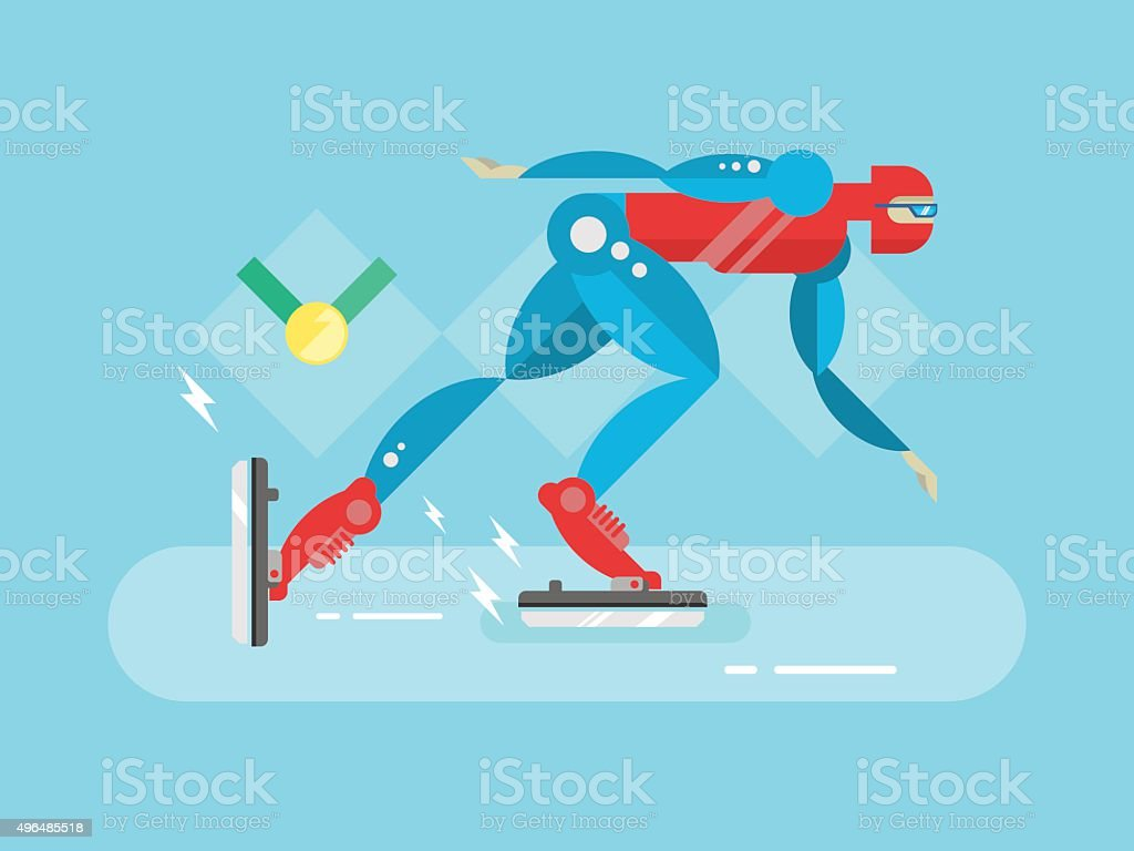 Ice speed skater cartoon character vector art illustration