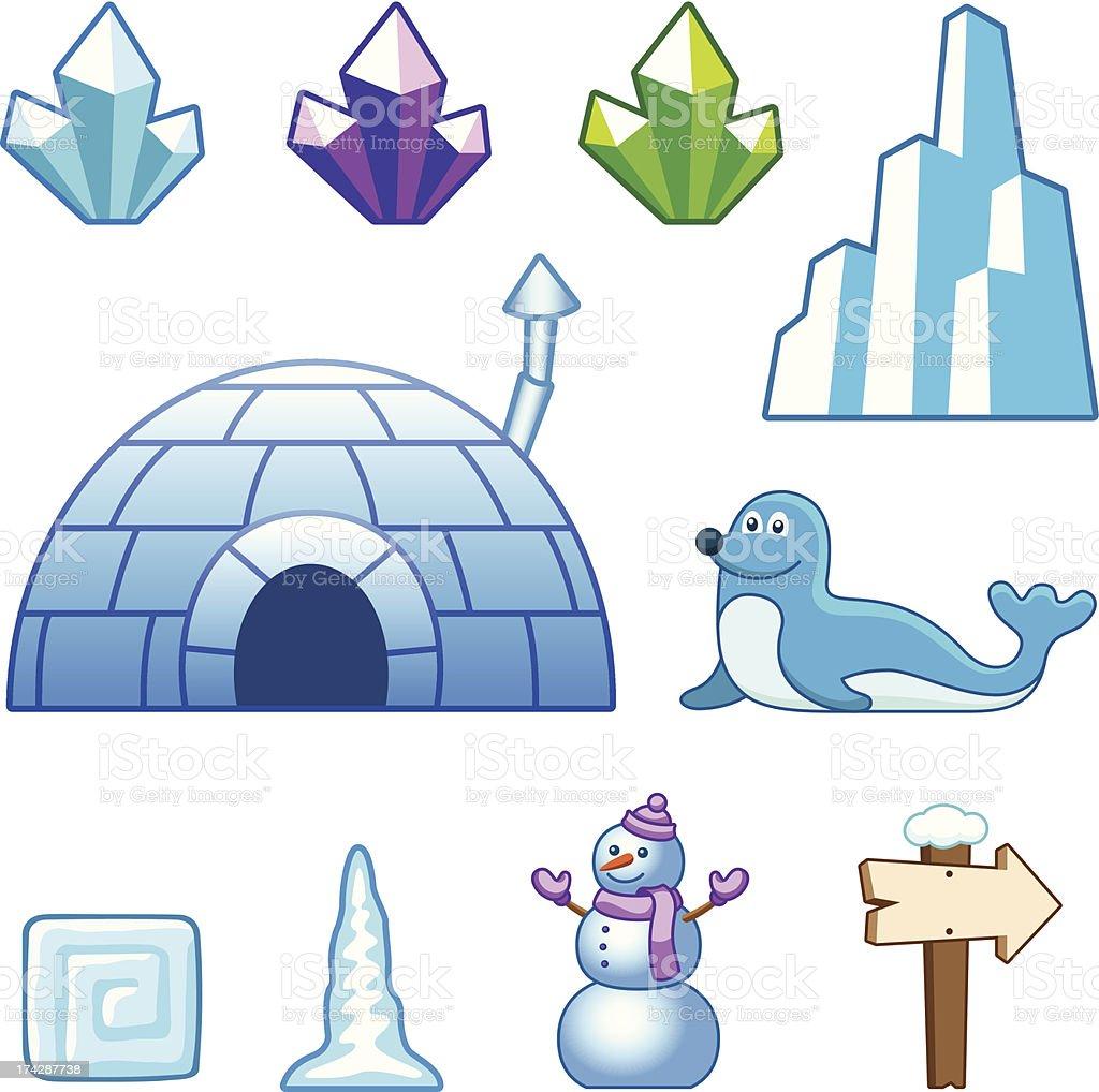 Ice world assets vector art illustration