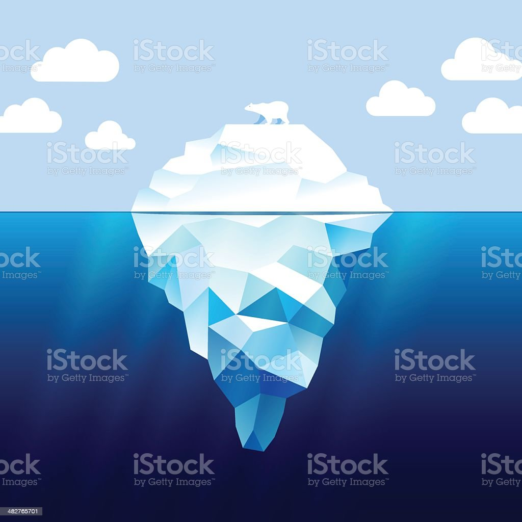 Iceberg and white bear vector art illustration