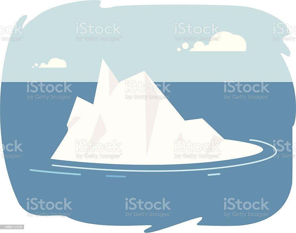 Iceberg cartoon in the ocean with sky vector art illustration