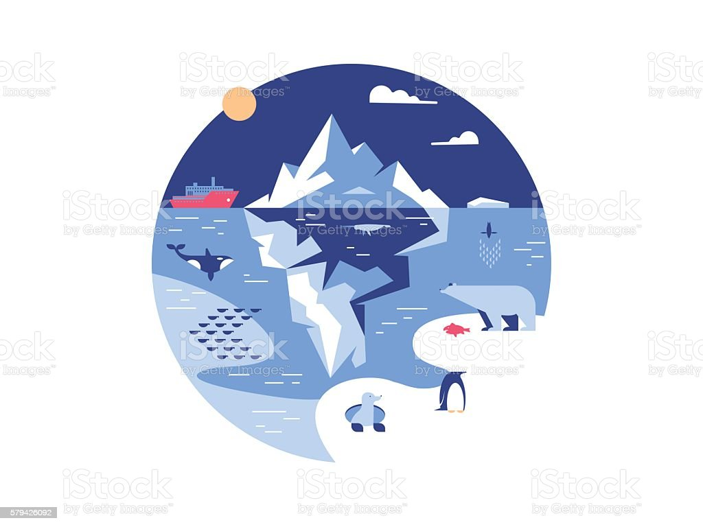 Iceberg in sea or ocean vector art illustration