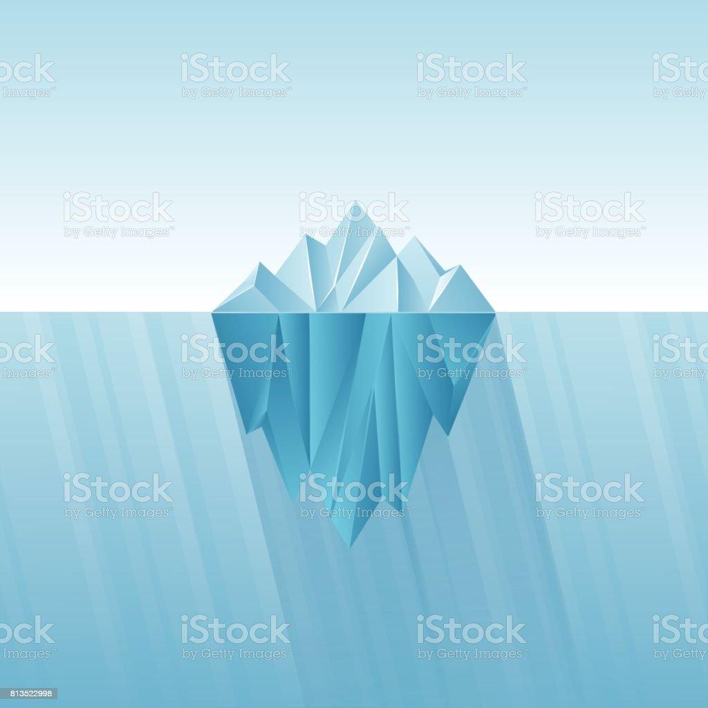 Iceberg infographic template. Polygon iceberg in flat style. vector art illustration