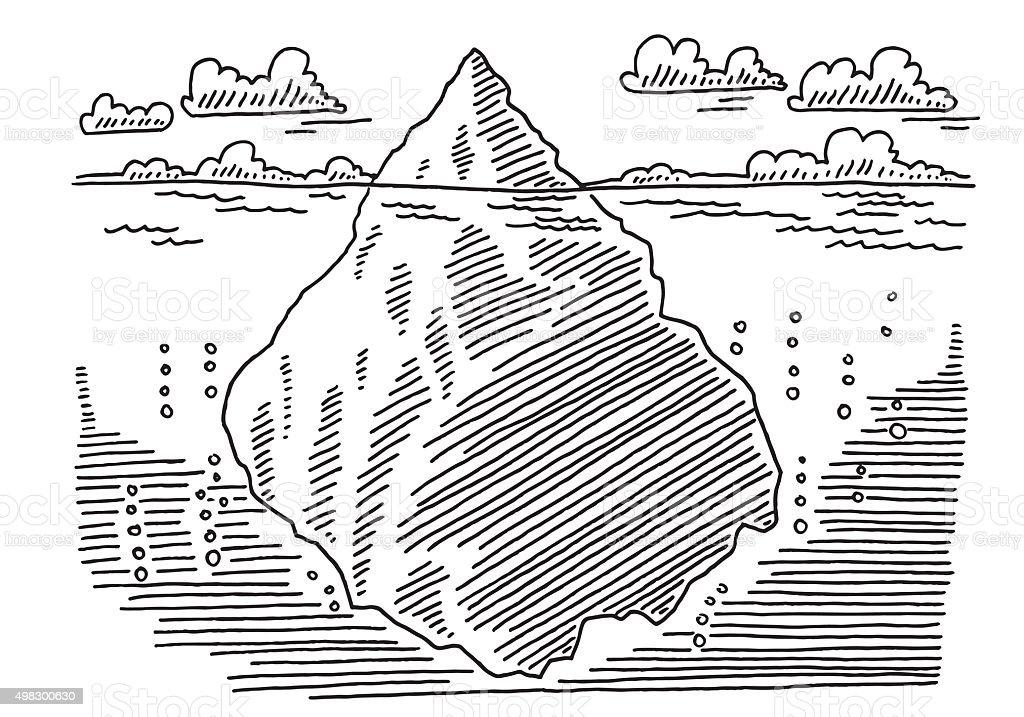 Iceberg Ocean Drawing vector art illustration