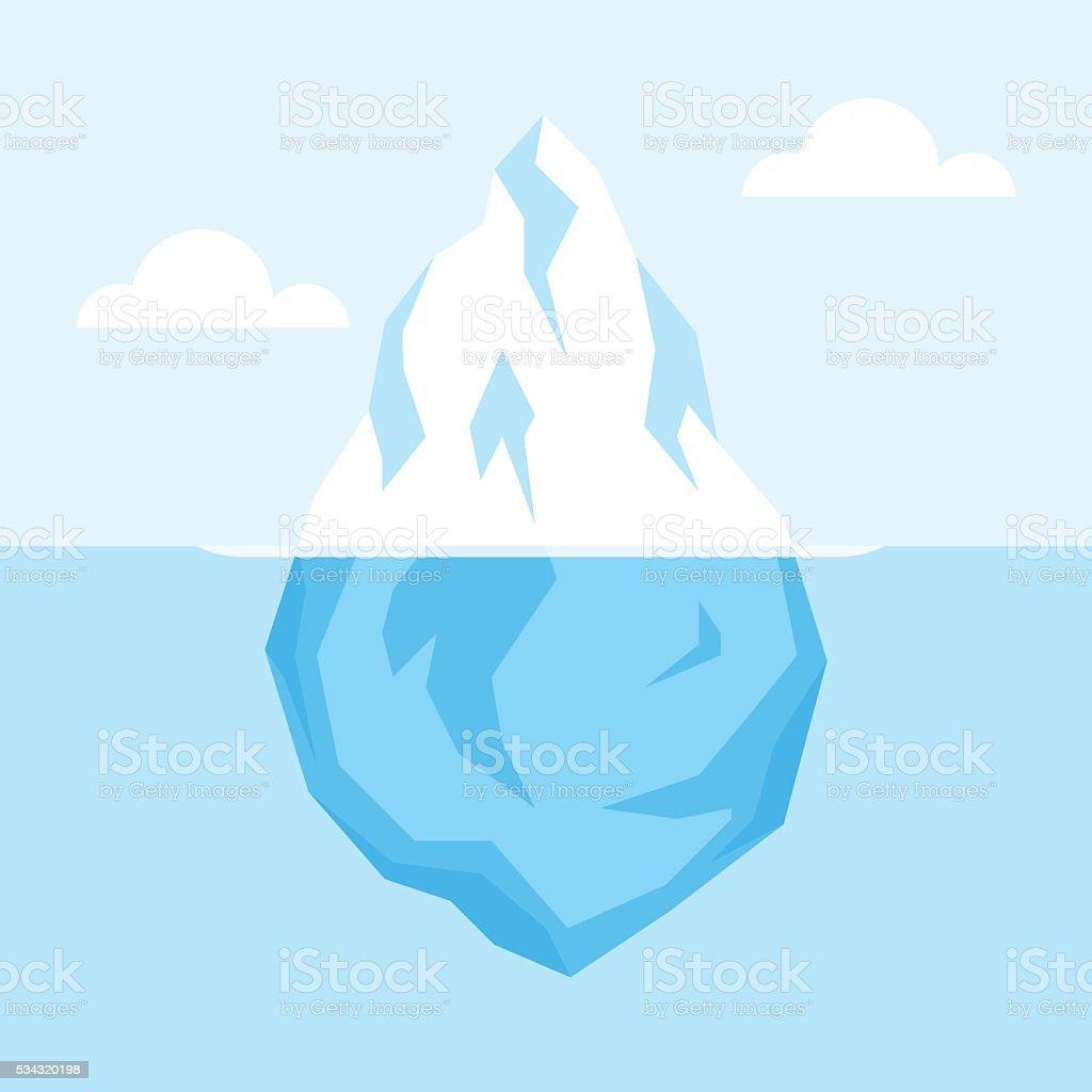 Iceberg on water vector art illustration