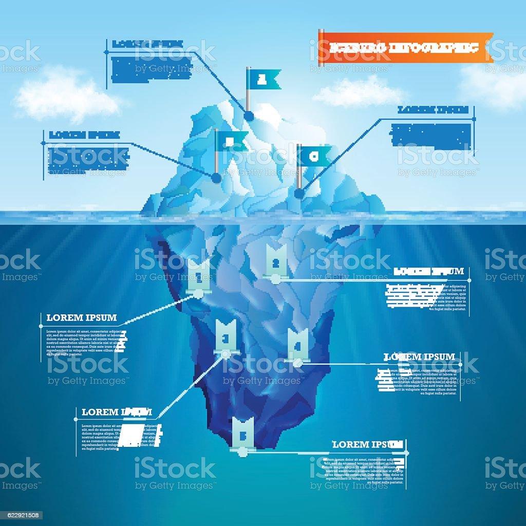 Iceberg ralistic infographic vector art illustration