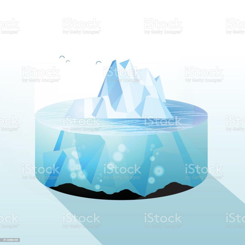 Iceberg Slice Underwater and Above Water Level View - Vector Illustration vector art illustration