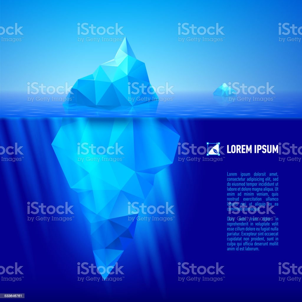 Iceberg under water vector art illustration