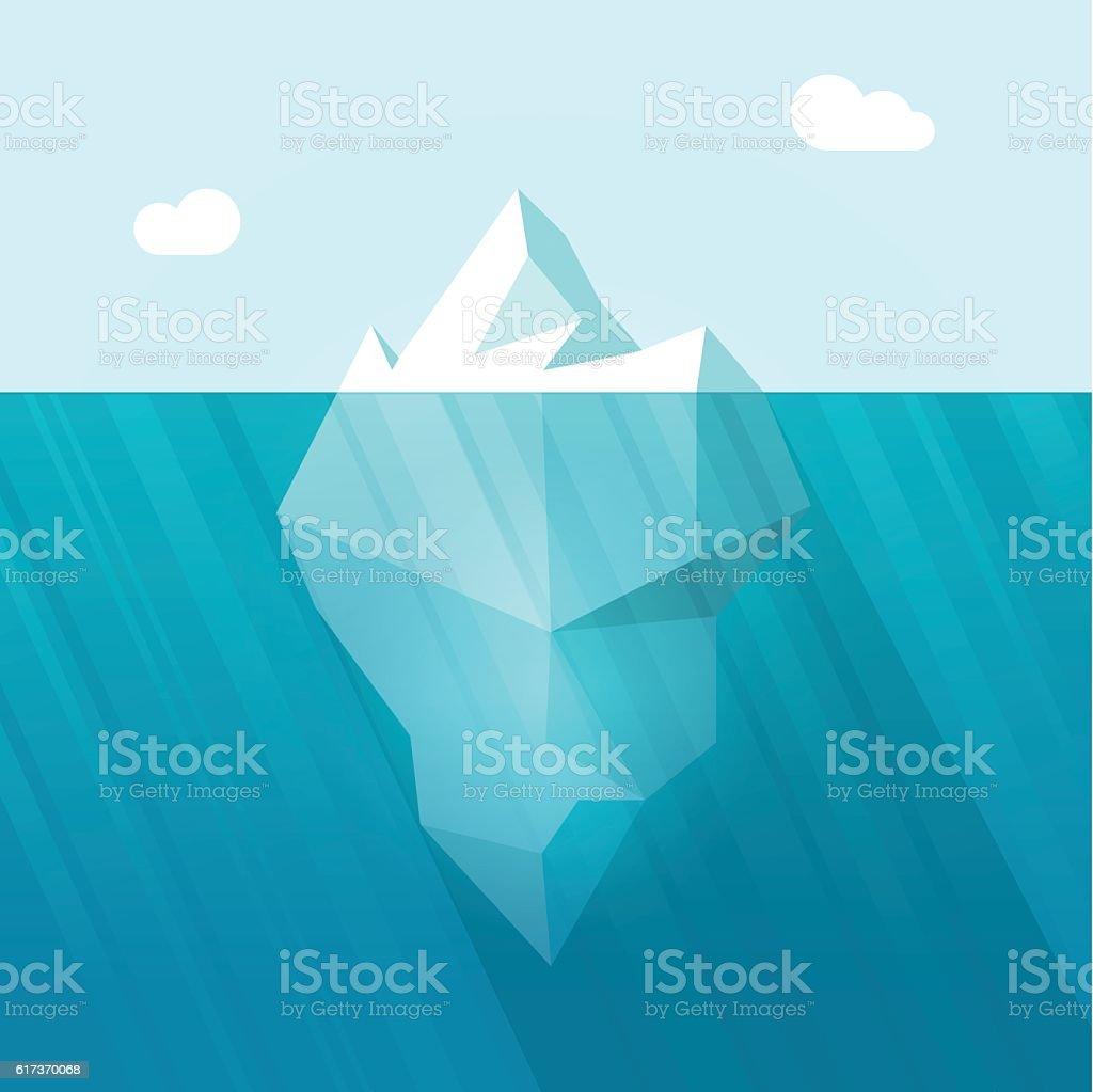 Iceberg vector illustration, big berg in ocean water floating vector art illustration