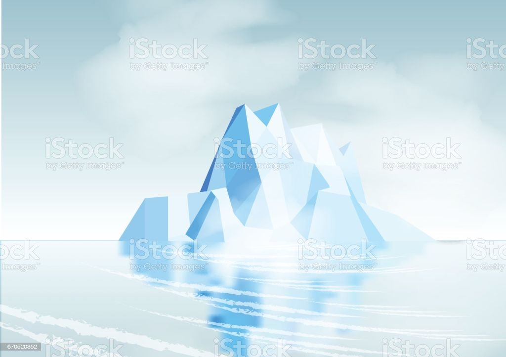 Iceberg with Reflection - Vector Illustration vector art illustration