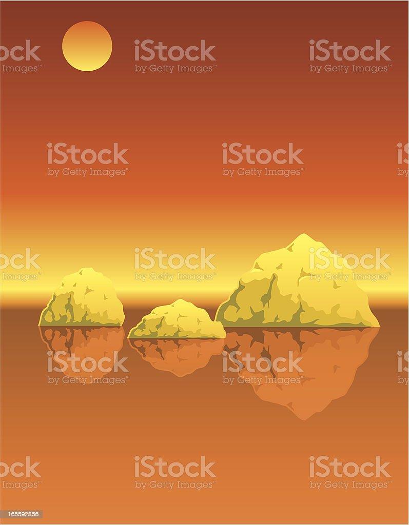 Icebergs orange royalty-free stock vector art