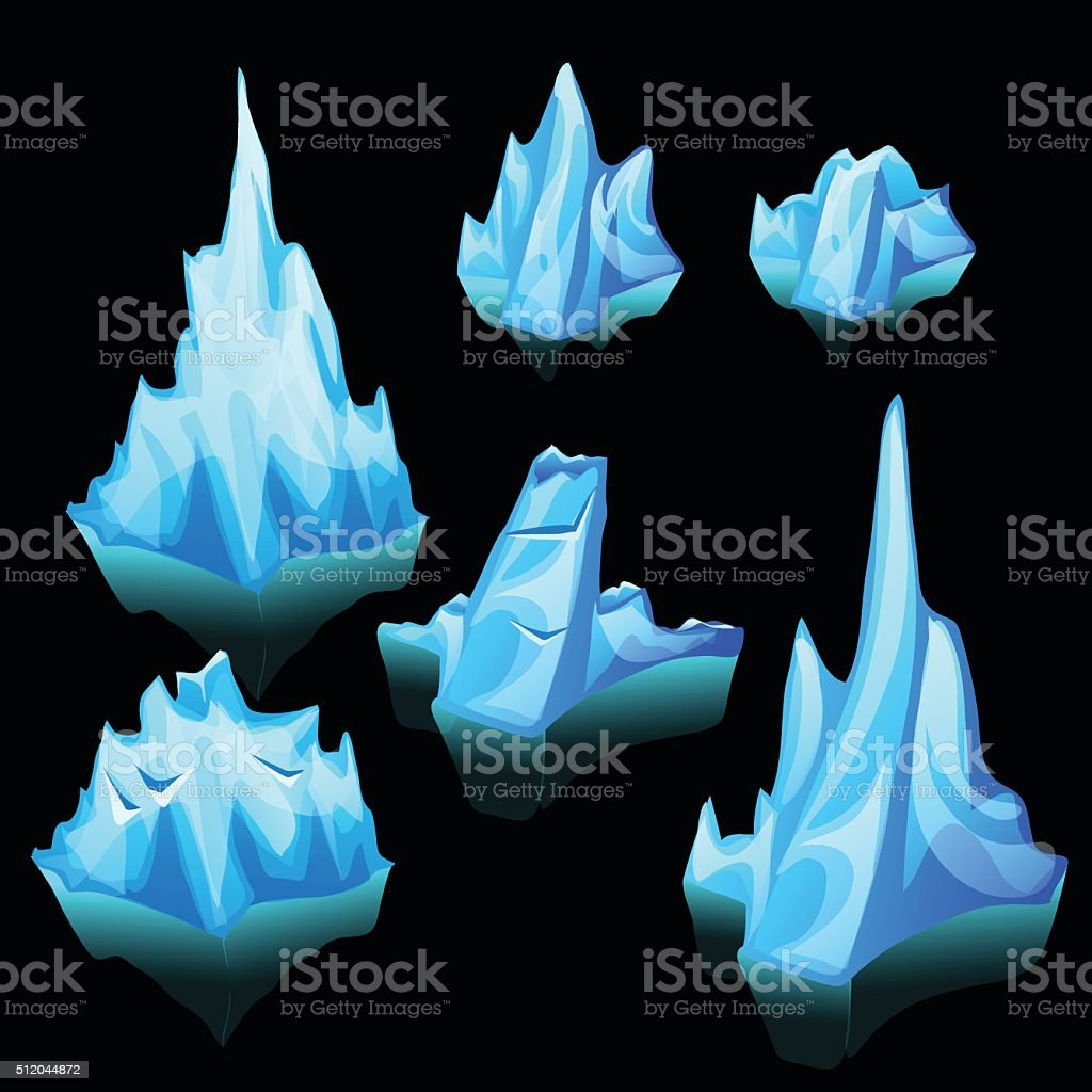 Icebergs set of different shape and size vector art illustration