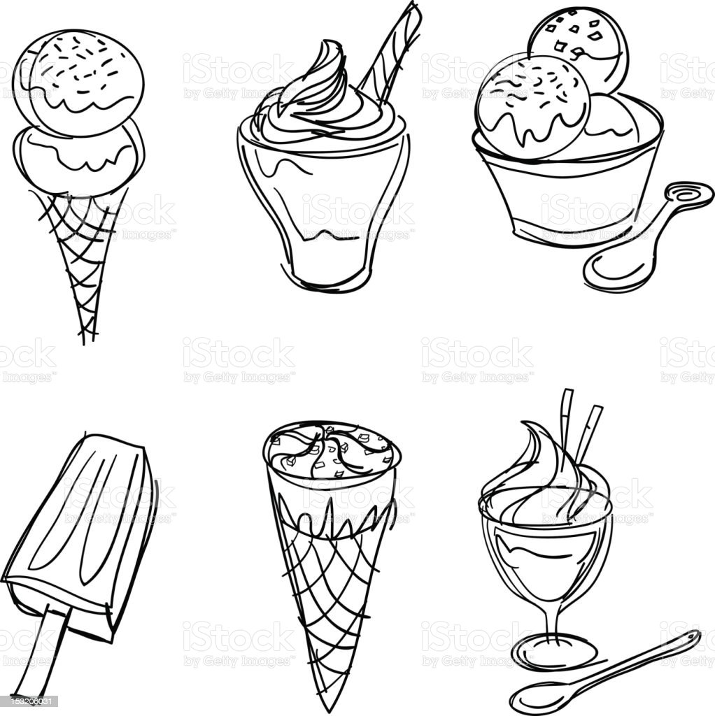 Ice-Cream collection in Black and White royalty-free stock photo