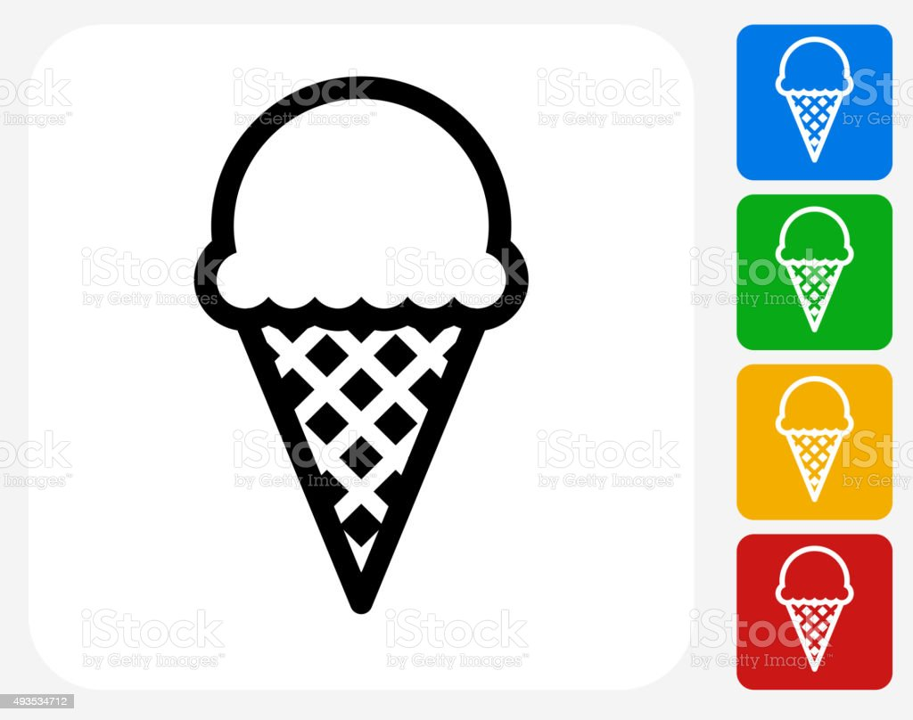 Ice-cream Icon Flat Graphic Design vector art illustration