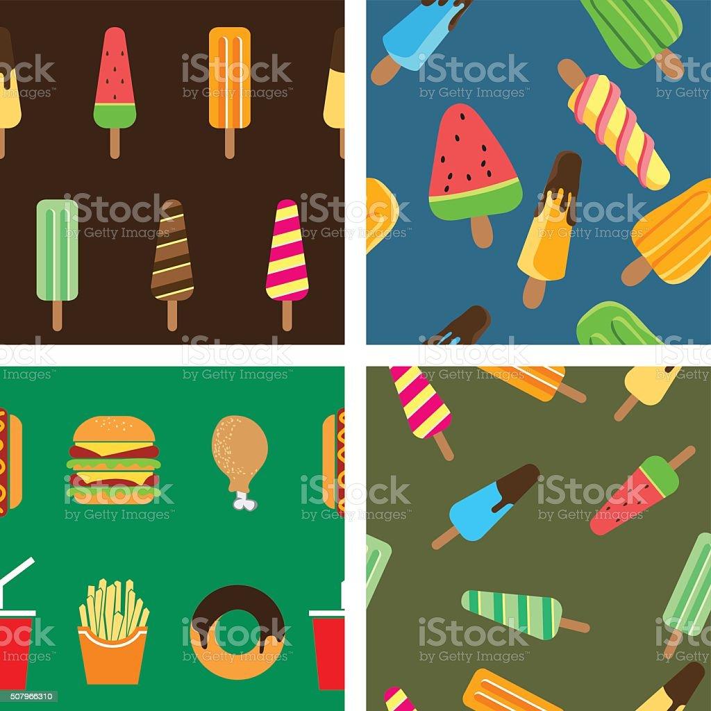 Icecream & Junk food Seamless Pattern vector art illustration