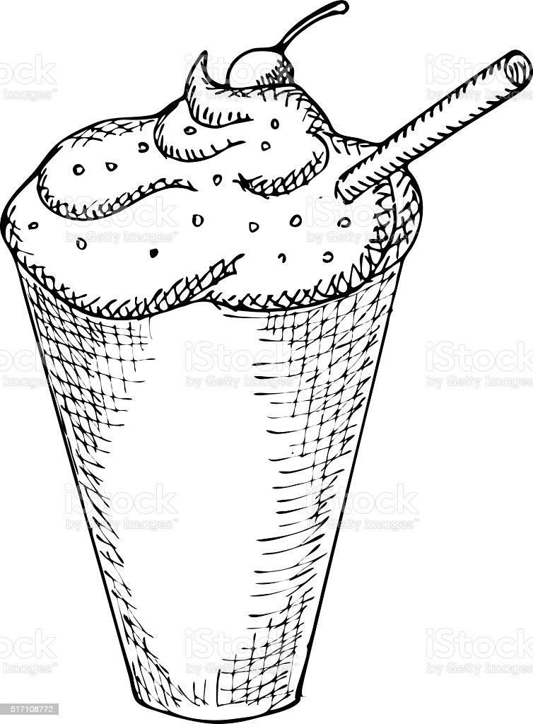 Iced Coffee Illustration vector art illustration