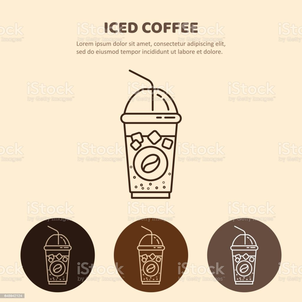 Iced Drink vector icon. Linear restaurant, shop pictogram vector art illustration