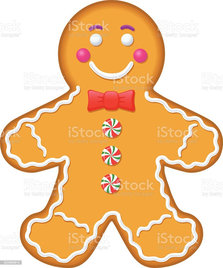 Iced Gingerbread Man Cookie vector art illustration