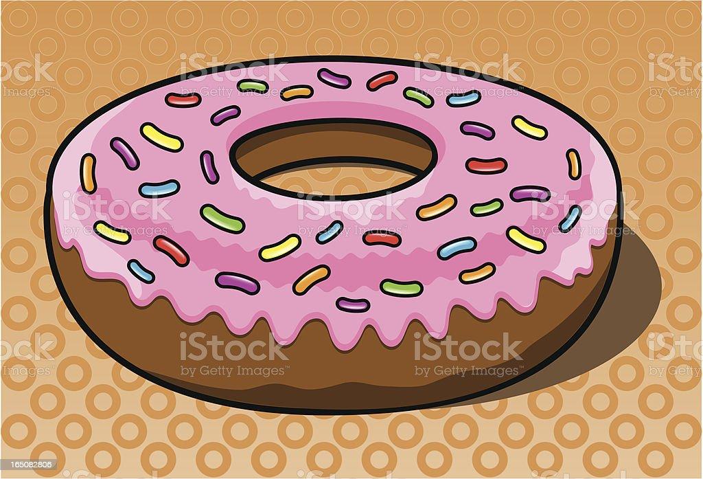 Iced Ring Donut vector art illustration