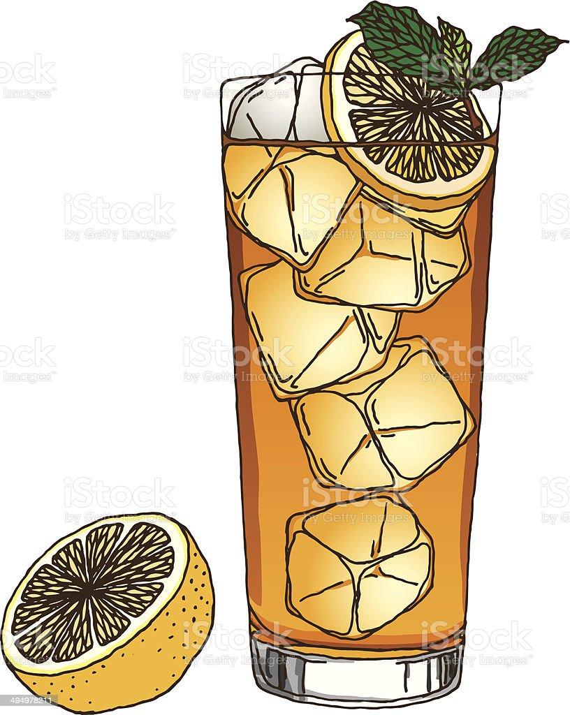 Iced Tea And Lemon vector art illustration
