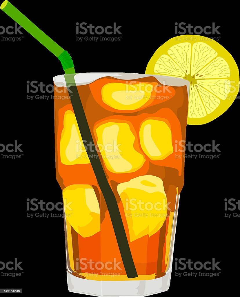 Iced Tea and Lemon/Straw, Vector vector art illustration