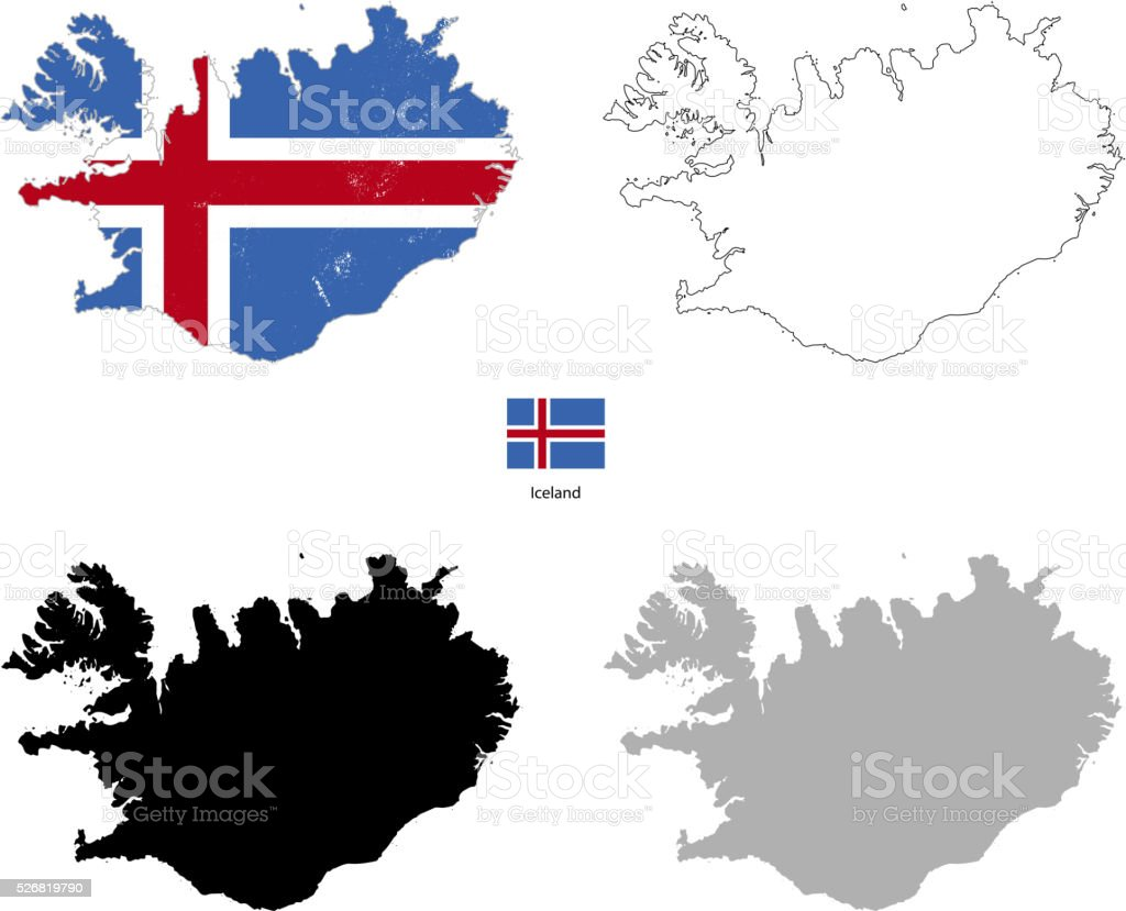 Iceland country black silhouette and with flag on background vector art illustration