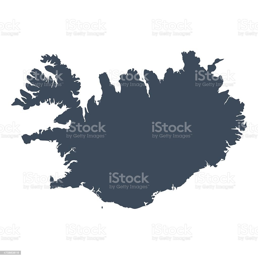 Iceland country map vector art illustration