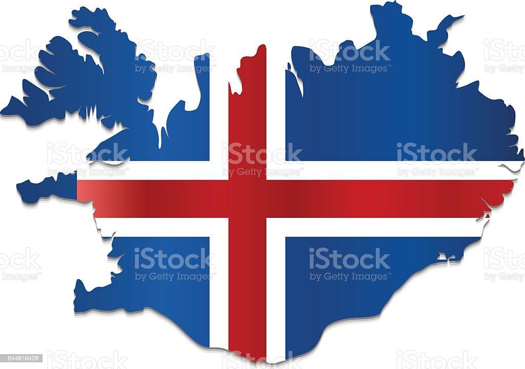 Iceland flag map on white background vector art illustration
