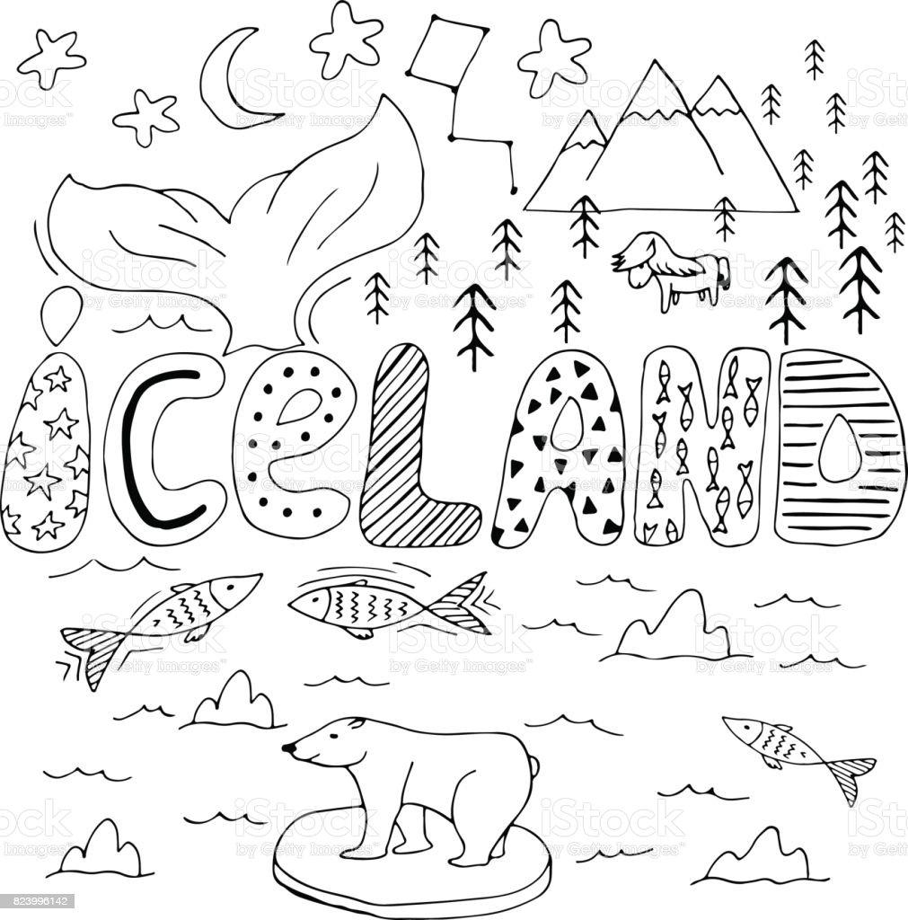 Iceland hand drawn cartoon map. Cute vector illustration with travel landmarks, animals and natural phenomena. vector art illustration