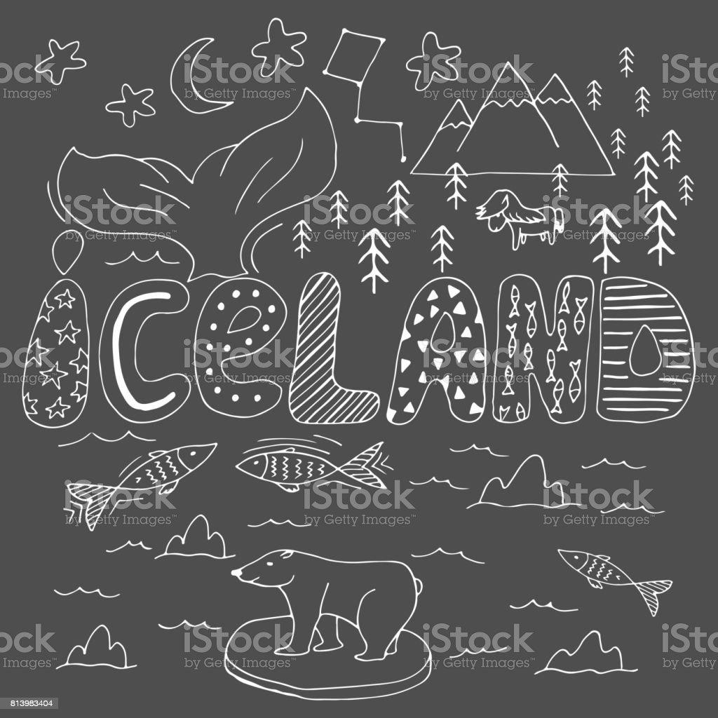 Iceland hand drawn cartoon map. Vector illustration with travel landmarks, animals and natural phenomena. vector art illustration