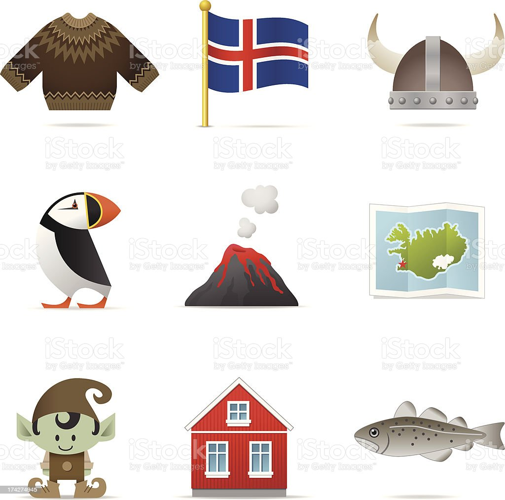 Iceland Icons vector art illustration
