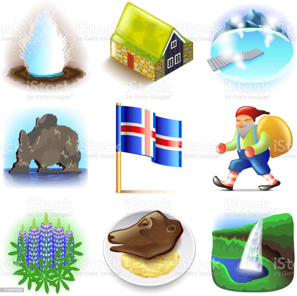 Iceland icons vector set vector art illustration