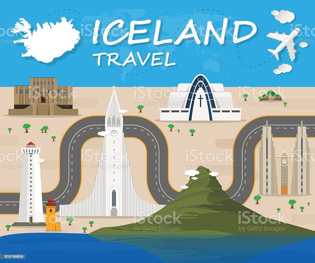Iceland Landmark Global Travel And Journey Infographic Vector De vector art illustration