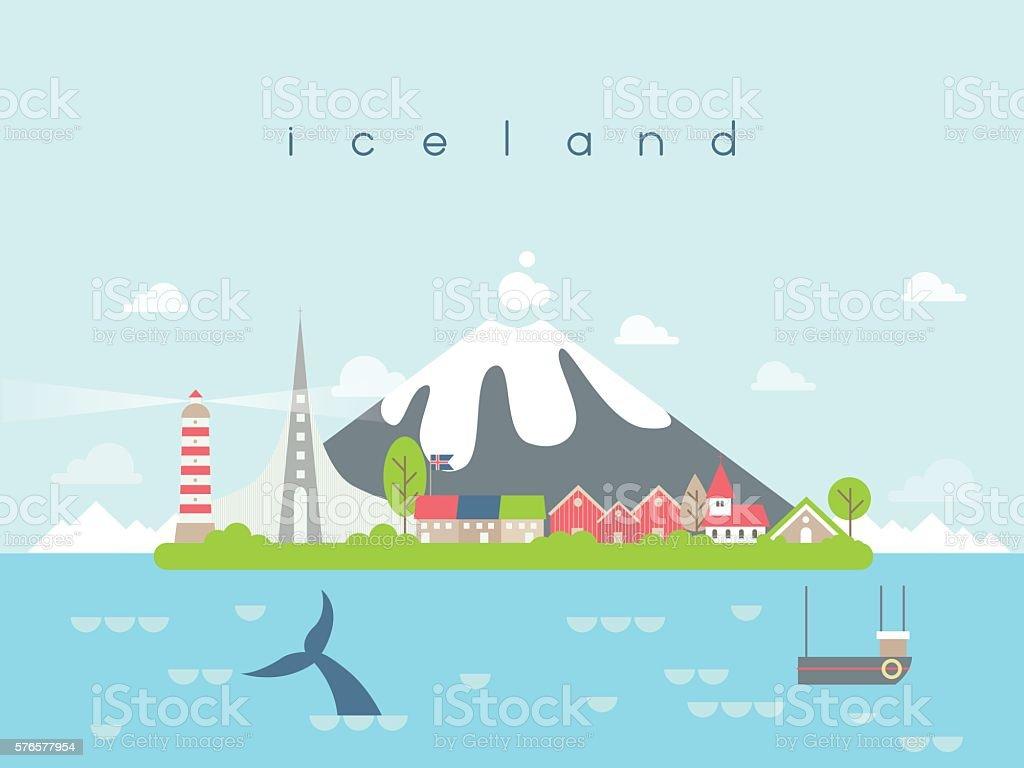 Iceland Landmarks Travel and Journey Vector vector art illustration