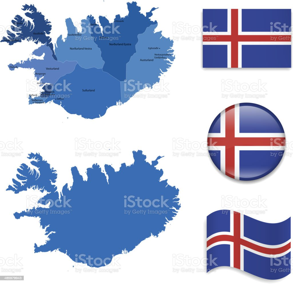 Iceland Map and Flags Collection vector art illustration