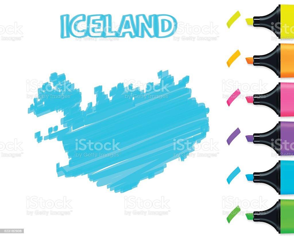 Iceland map hand drawn on white background, blue highlighter vector art illustration