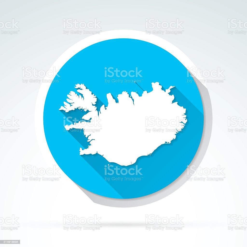 Iceland map icon, Flat Design, Long Shadow vector art illustration