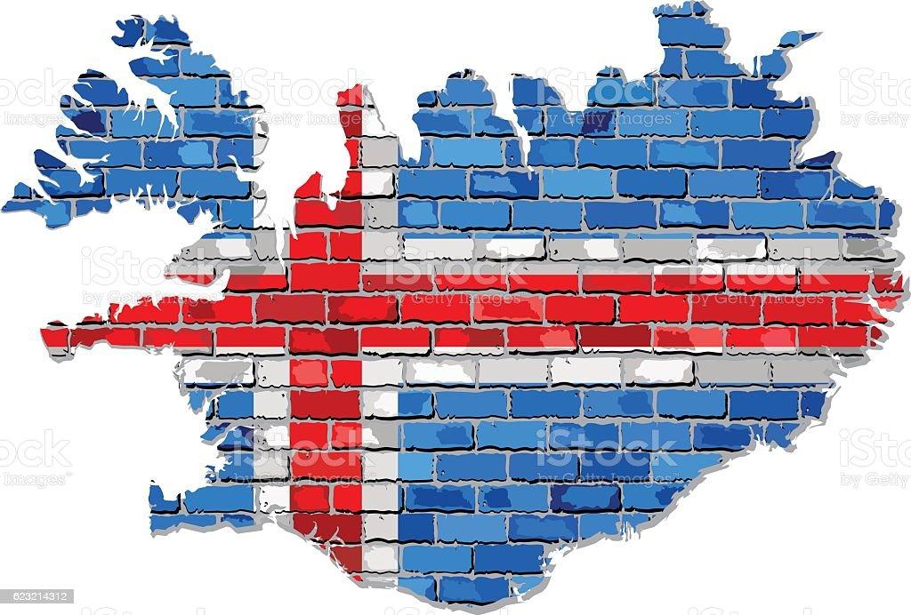 Iceland map on a brick wall vector art illustration