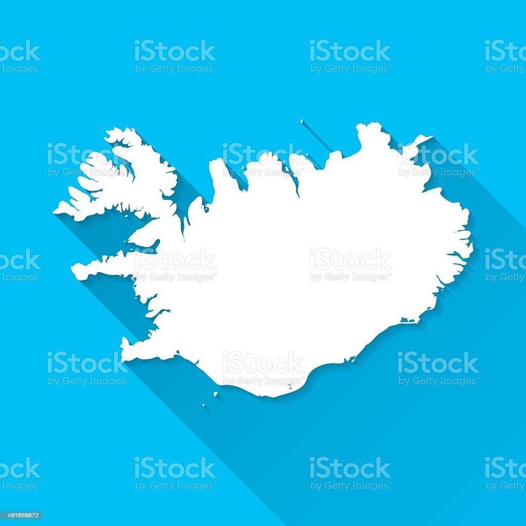 Iceland Map on Blue Background, Long Shadow, Flat Design vector art illustration