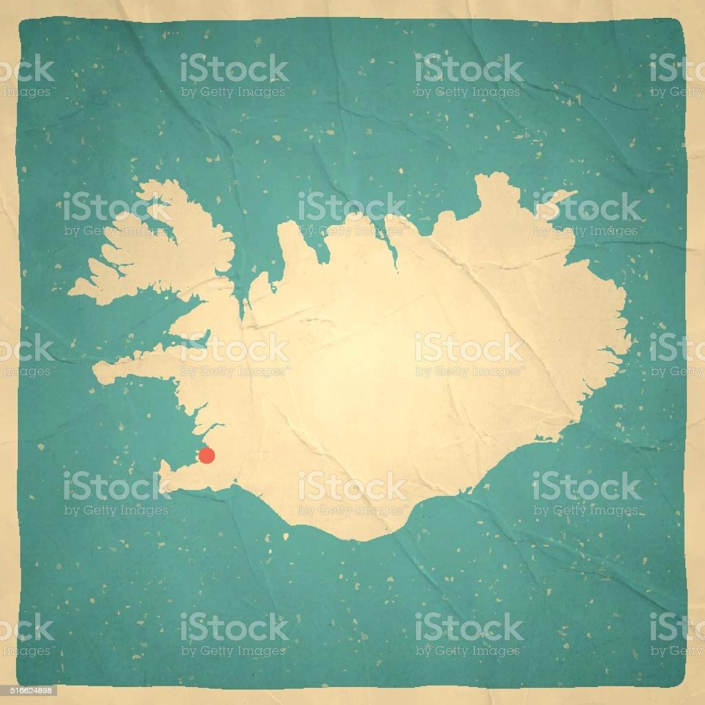 Iceland Map on old paper - vintage texture vector art illustration