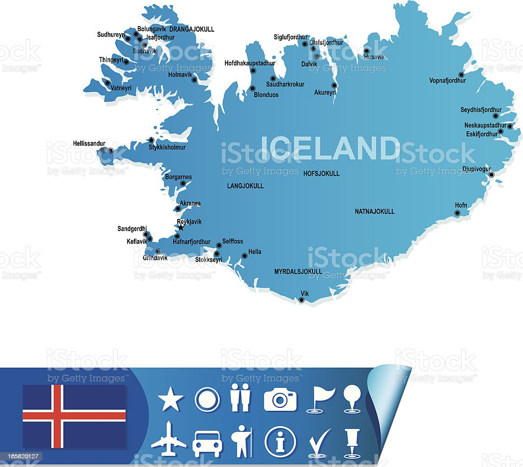 Iceland map royalty-free stock vector art