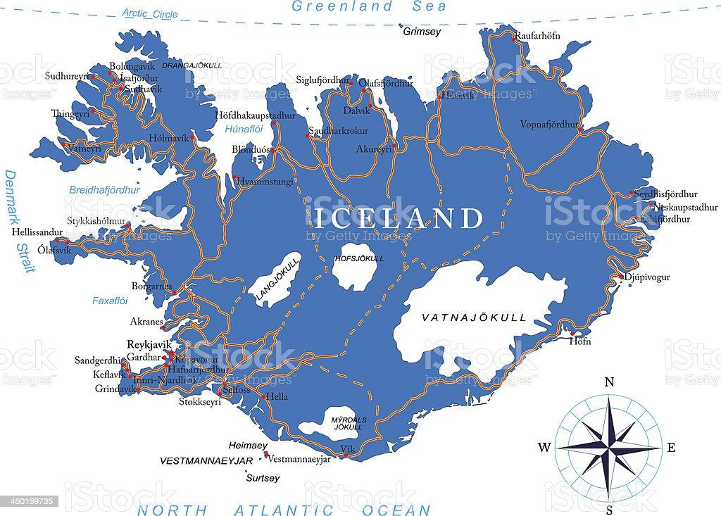 Iceland map vector art illustration