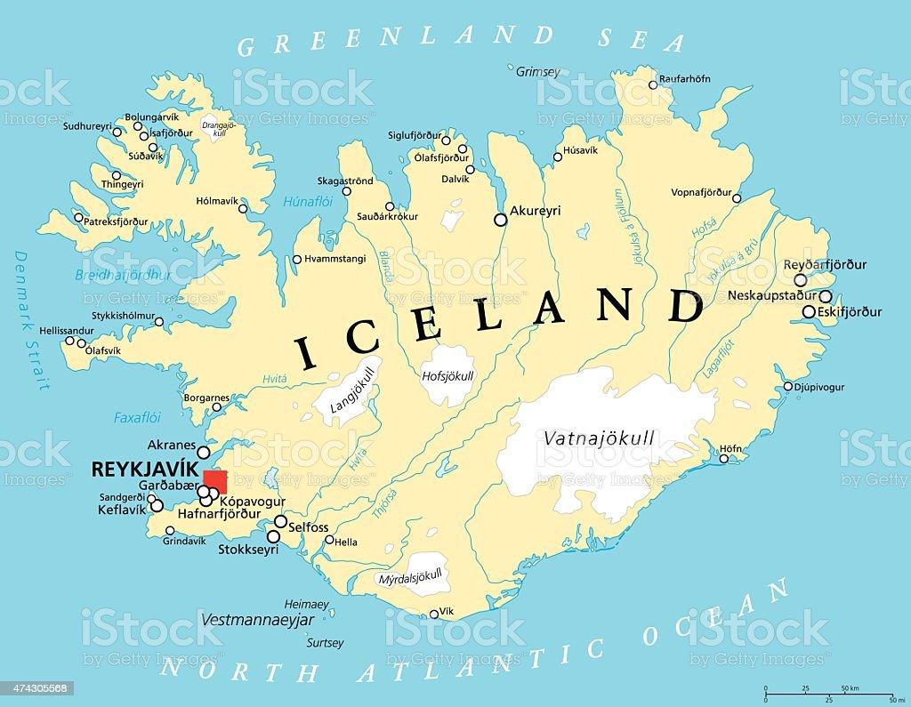 Iceland Political Map vector art illustration
