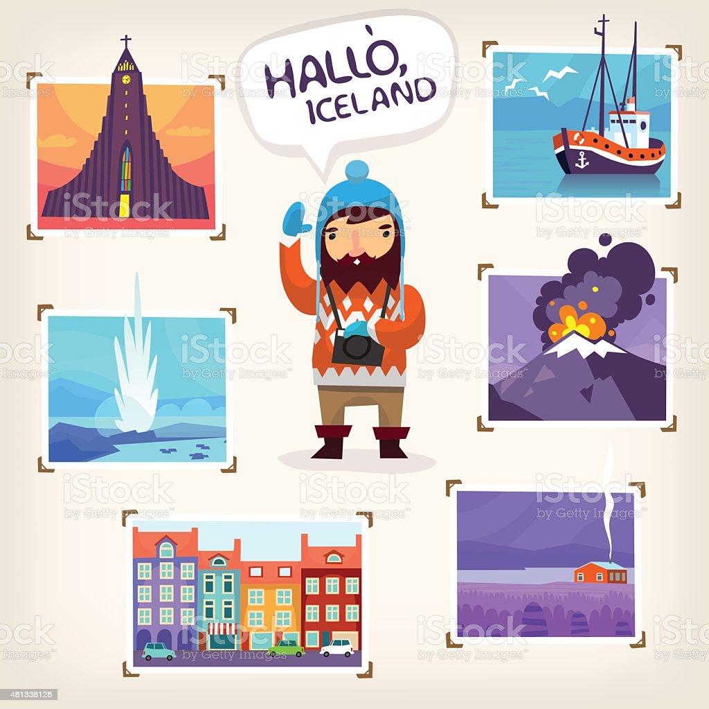 Iceland tourism vector art illustration