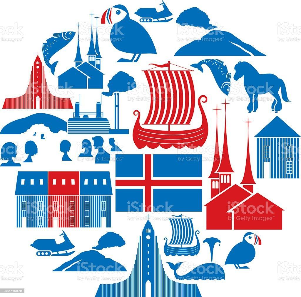 Icelandic Icon Set vector art illustration