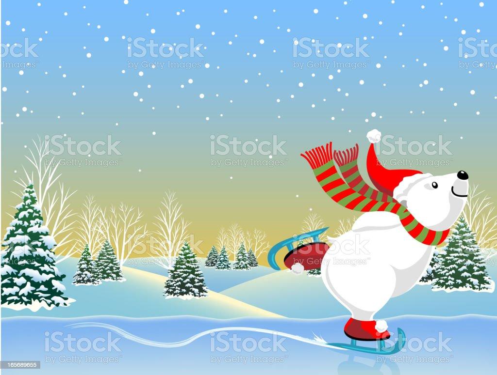 Ice-Skating Bear vector art illustration