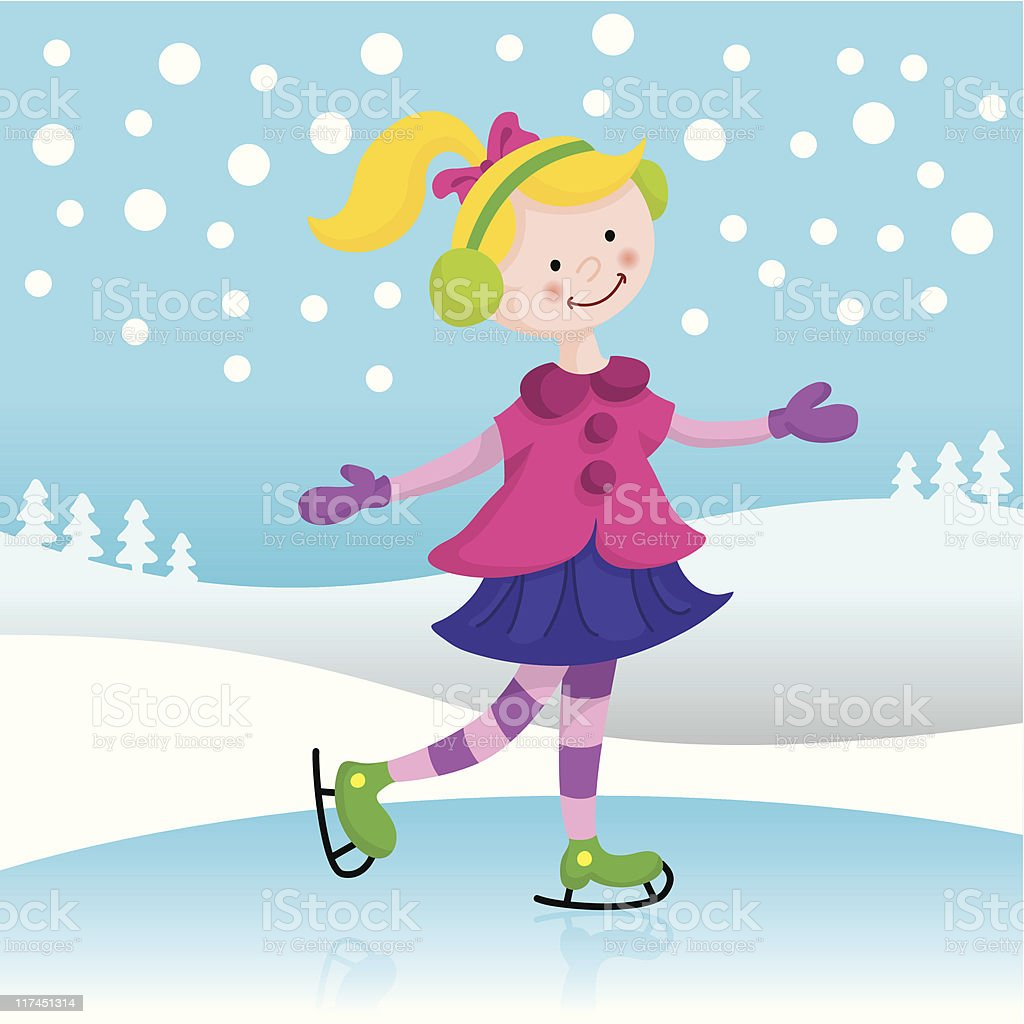 Ice-skating fun vector art illustration