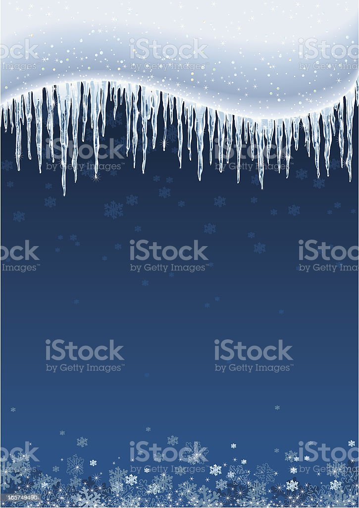 Icicles and Snow Background vector art illustration