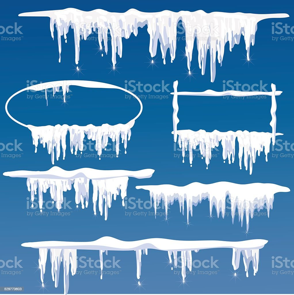 icicles frames vector art illustration
