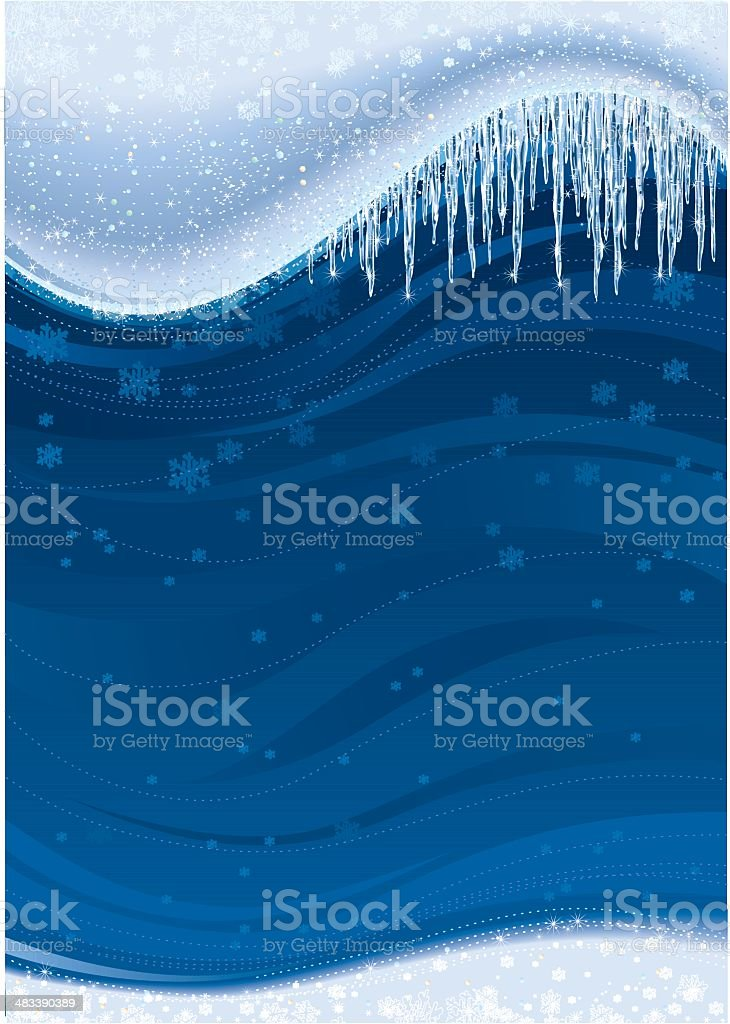 Icicles Snow on Blue Background royalty-free stock vector art