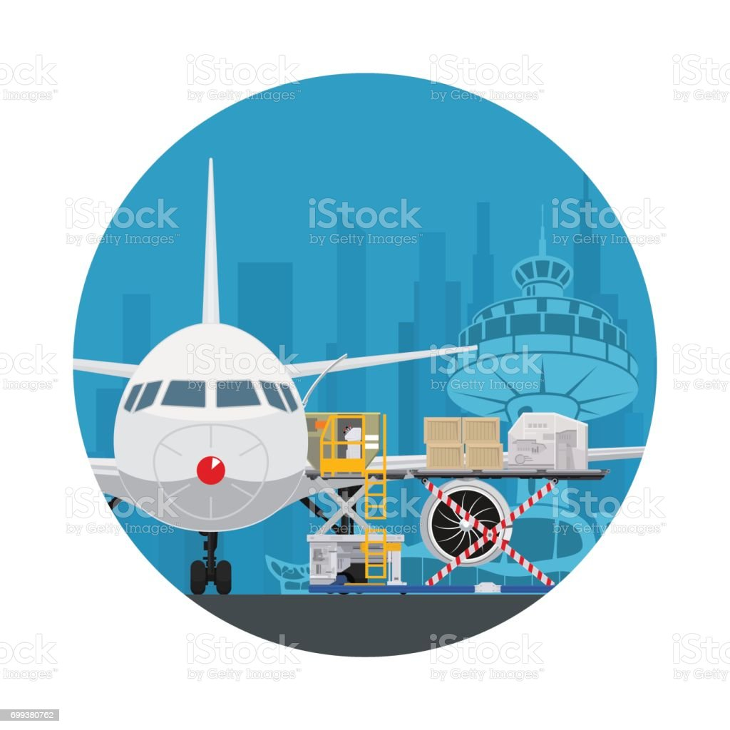 Icon Air Cargo Services and Freight vector art illustration